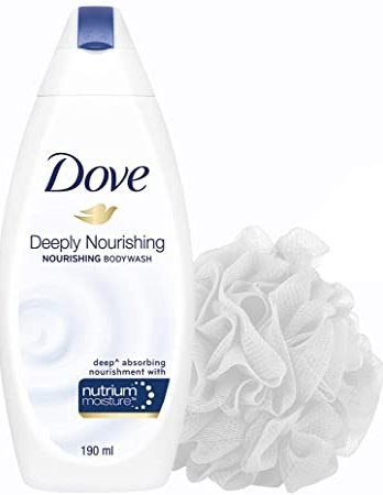 Dove Deeply Nourishing Body Wash, With Exfoliating Beads For Softer, Smoother Skin With Free Loofah, 190 ml