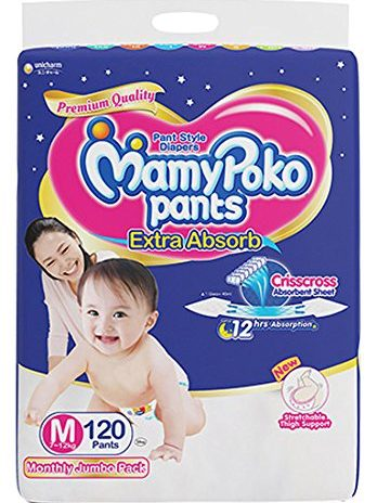 MamyPoko Pants Extra Absorb Diapers Monthly Pack, Medium (Pack of 120)