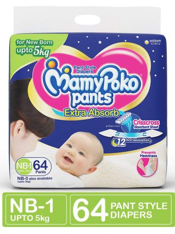 MamyPoko Pants Extra Absorb Diapers, New Born (Pack of 64)