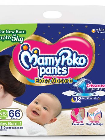 MamyPoko Pants Extra Absorb Diapers, New Born (Upto 5 kg), 66 Count