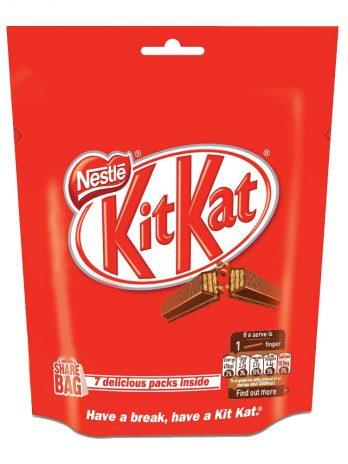Nestle KitKat 2 Finger Wafer Bar, Share Bag (7 Packs Insidex18g Tablet), 126g 100/-