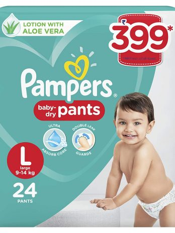 Pampers All round Protection Pants, Large size baby diapers (LG), 24 Count, Anti Rash diapers, Lotion with Aloe Vera 399/-