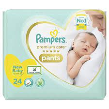 Pampers Premium Care Pants, New Born, Extra Small size baby diapers (NB,XS), 24 count, Softest ever Pampers 275/-