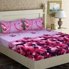 Flower print bed cover