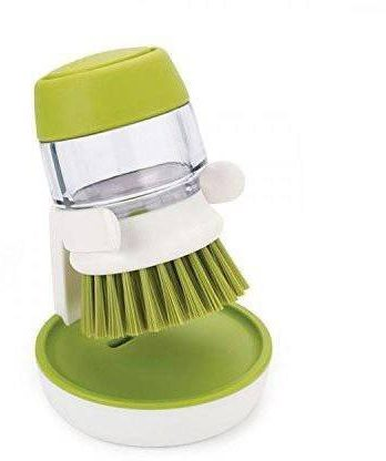 HTL Cleaning Brush with Storage Stand, for Kitchen Bathroom Tiles Dishwashing Cleaning Brush Washbasin Palm Scrub Soap Dispenser Washing-up Brush Silicone Wet and Dry Brush 1 L Liquid Dispenser (Multicolor) – Bisarga Online Supermarket India