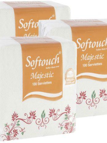 Softouch Tissue Paper Napkins 100 pcs. Each- Set of 3 (Multicolour) – Bisarga Online Supermarket India