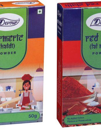 Devour Turmeric(Haldi) Powder & Red Chilli (Lal Mirch) Powder-Combo Pack-50g