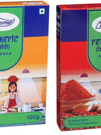 Turmeric(Haldi) Powder & Red Chilli (Lal Mirch) Powder Combo Pack-100g