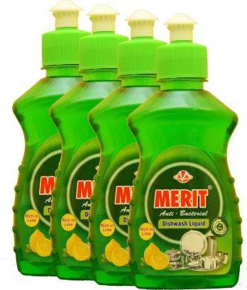Merit Anti-Bacterial Dishwash Liquid pack of 4 (250 ml x4) Dish Cleaning Gel (Lime Fresh, 4 x 0.25 L) – Bisarga Online Supermarket India