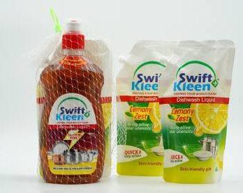 Swiftkleen Dish Wash Bottle 500ml with Pouch Offer Dish Cleaning Gel (Tamarind, 3 x 0.25 L) – Bisarga Online Supermarket India